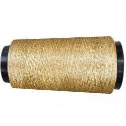 Cone de fil couleur  vieille or doré  composition 28 % métal 72 % viscose longueur de 5000 mètres bobiné en France