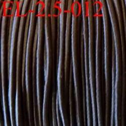 élastique cordon très belle qualité et très résistant couleur marron foncé largeur 2,5 mm prix au mètre