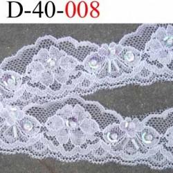 dentelle synthétique lycra extensible blanche douce avec perles et sequins arc en ciel largeur 40 mm prix au mètre