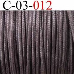 cordon 100% coton ciré couleur marron foncé diamètre 3 mm prix au mètre