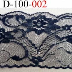 Dentelle synthétique couleur noir motifs fleurs largeur 100 mm prix au mètre