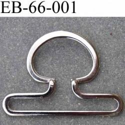 Boucle étrier  métal chromé largeur 66 mm extérieur passage intérieur 60 mm hauteur 48 mm épaisseur 2.5 mm