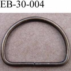 Boucle étrier demi rond en métal couleur bronze largeur extérieur 3.1cm intérieur 2.7 cm iédal sangle de 2.5 cm hauteur 23 mm