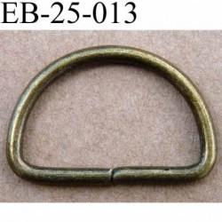Boucle etrier anneau demi rond métal couleur bronze jaunie largeur  2.4 cm intérieur 2 cm idéal pour sangle 2 cm hauteur 1.6 cm