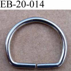 Boucle étrier style cheval métal chromé argenté largeur extérieur 2.1 cm intérieur 1.7 cm iédal sangle de 1.5 cm hauteur 18 mm