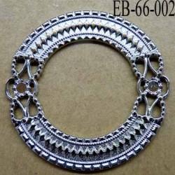 Boucle étrier anneau  métal chromé diamètre extérieur 66 mm diamètre intérieur 40 mm  largeur de bande 13 mm épaisseur 2.8 mm