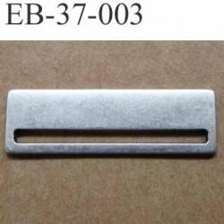 Boucle étrier rectangle en métal style argenté largeur extérieur 3.7 cm hauteur 12 mm largeur intérieur 3.4 cm