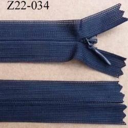 fermeture zip glissière invisible longueur 22 cm couleur bleu marine non séparable largeur 2.5 cm glissière nylon largeur 4 mm