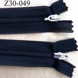 fermeture zip invisible longueur 30 cm couleur noir non séparable double curseur largeur 2.7 cm glissière nylon largeur 4 mm