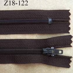 fermeture zip de marque à glissière longueur 18 cm couleur marron non séparable largeur 2.5 cm glissière nylon largeur  zip 4 mm