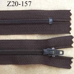 fermeture zip de marque à glissière longueur 20 cm couleur marron non séparable largeur 2.5 cm glissière nylon largeur  zip 4 mm