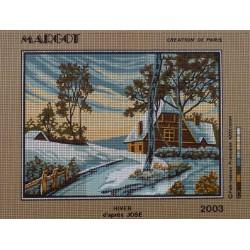 canevas 30X40 marque MARGOT CREATION DE PARIS thème hivert dimennsion 30 centimètres par 40 centimètres 100 % coton