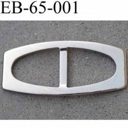 Boucle etrier rectangle en métal chromé superbe largeur extérieur 6.5 cm intér chaque coté 25 mm hauteur 29 mm épaisseur 2 mm
