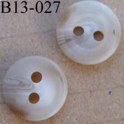 bouton diamètre 13 millimètres couleur marron beige  clair marbré 2 trous diamètre 13 mm