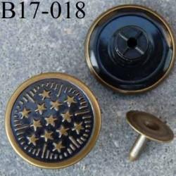 Bouton pour jeans 17 mm en métal couleur bronze avec le clou facile à posé 17 millimètre