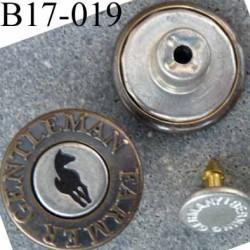 Bouton pour jeans 17 mm haut de gamme siglé Gentleman Farmer en métal diamètre 17 mm couleur acier bronze et noir avec  clou