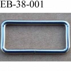 Boucle étrier rectangle en métal chromé  largeur extérieur 3.8 cm largeur intérieur 3.2 cm hauteur 13 mm épaisseur 3 mm