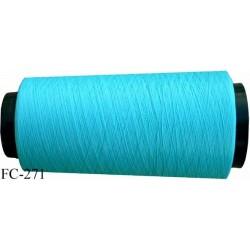 Cone de fil mousse texturé polyester fil n° 120 couleur vert bleu lagon longueur 1000 mètres bobiné en France