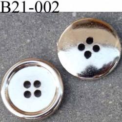 Bouton 21 mm en pvc couleur chromé brillant  4 trous diamètre 21 mm