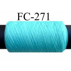Bobine de fil mousse texturé polyester fil n° 120 couleur vert bleu lagon longueur 500 mètres fabriqué en France