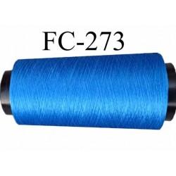 Cone de fil très résistant  n° 35 polyester continu bleu brillant superbe très solide longueur 1000 mètres bobiné en France