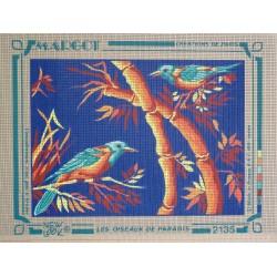 canevas 30X40 marque MARGOT CREATION DE PARIS thème oiseaux de paradis dimennsion 30 centimètres par 40 centimètres 100 % coton