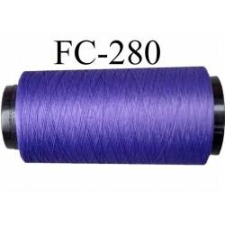 Cone de fil mousse texturé polyester fil n° 150 couleur violet longueur 1000 mètres fabriqué en France