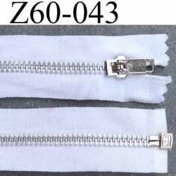 fermeture zip à glissière longueur 60 cm couleur blanc en coton séparable zip métal largeur 3.2 cm largeur du zip 6  mm