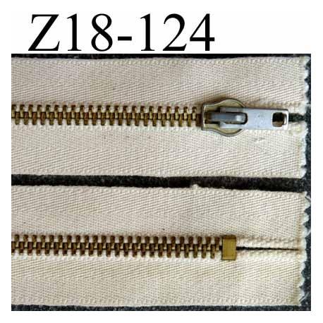 fermeture zip à glissière métal  longueur 18 cm couleur écru  non séparable zip métal 6 mm doré bichromaté largeur 3.5 cm