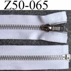 fermeture zip à glissière métal  longueur 50 cm couleur blanc  séparable zip métal 6 mm alu largeur 3.2 cm