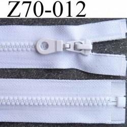 fermeture zip blanc largeur 3.2 cm longueur 70 cm  séparable largeur de la glissière nylon moulé 6 mm curseur en métal