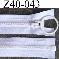 fermeture zip blanc largeur 3.2 cm longueur 40 cm  séparable largeur de la glissière nylon moulé 6 mm curseur en métal