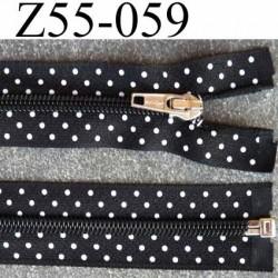 fermeture zip noir à pois blanc largeur 3.2 cm longueur 55 cm  séparable largeur de la glissière nylon 6 mm curseur en métal