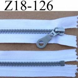 fermeture zip à glissière pvc  longueur 18 cm couleur blanc largeur 3.2 cm  non séparable zip moulé 6 mm gris