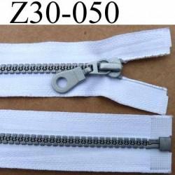 fermeture zip à glissière pvc  longueur 30 cm couleur blanc largeur 3.2 cm  séparable zip moulé 6 mm gris