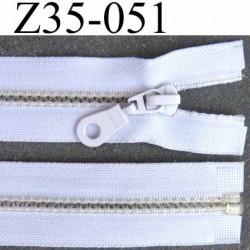 fermeture zip à glissière pvc  longueur 35 cm couleur blanc largeur 3.2 cm  séparable zip transparent 6 mm