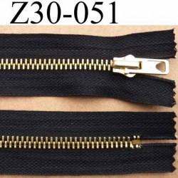 fermeture zip à glissière longueur 30 cm couleur noir non séparable  largeur 3.2 cm  glissière métal doré largeur du zip 7 mm
