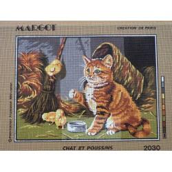 canevas 30X40 marque MARGOT CREATION DE PARIS thème chat et poussins dimennsion 30 centimètres par 40 centimètres 100 % coton