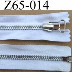 fermeture zip à glissière longueur 65 cm couleur blanc séparable zip métal largeur 3 cm largeur du zip 6 mm