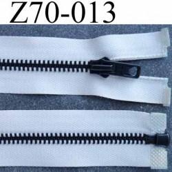 fermeture zip à glissière  longueur 70 cm couleur écru séparable largeur 3.2 cm glissière métal en nickel largeur 6 mm