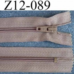 fermeture zip à glissière longueur 12 cm couleur marron clair non séparable largeur 2.6 cm glissière nylon largeur du zip 4 mm