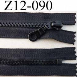 fermeture zip moulé à glissière longueur 12 largeur 3 cm couleur noir non séparable  largeur de la glissière moulé nylon  6 mm