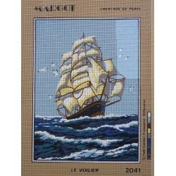 canevas 30X40 marque MARGOT CREATION DE PARIS thème le voilier dimennsion 30 centimètres par 40 centimètres 100 % coton