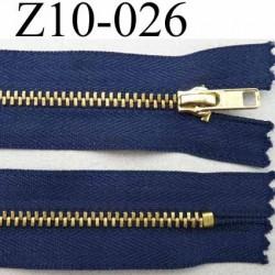fermeture zip à glissière longueur 10 cm couleur bleu non séparable largeur 2.8 cm glissière métal largeur du zip 4.5 mm