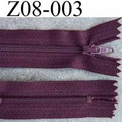 fermeture zip à glissière longueur 8 cm couleur prune non séparable largeur 2.7 cm glissière nylon largeur 4 mm