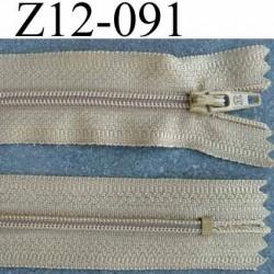 fermeture zip à glissière longueur 12 cm couleur  beige kaki non séparable largeur 2.6 cm glissière nylon largeur du zip 4 mm