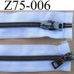 fermeture invisible longueur 75 cm  blanc et noir non séparable double curseur métal  largeur 3 cm largeur du zip nylon 6 mm