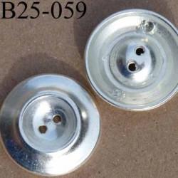 bouton fantaisie en métal  25 mm couleur métal argenté diamètre 25 millimètres
