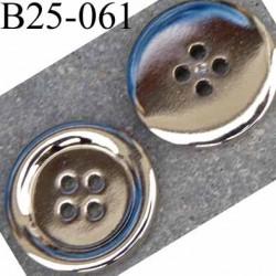 bouton  25 mm  pvc couleur chromé brillant 4 trous diamètre 25 millimètres