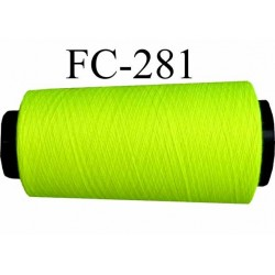 Cone ( Economique ) de fil  polyester  fil n°120 couleur jaune fluo longueur du cone 2000 mètres bobiné en France